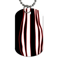 White, Red And Black Lines Dog Tag (two Sides) by Valentinaart