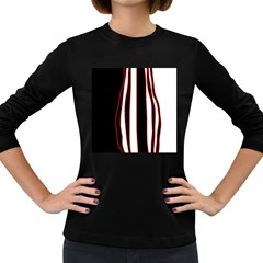 White, Red And Black Lines Women s Long Sleeve Dark T Shirts by Valentinaart
