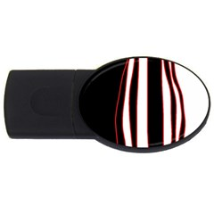 White, Red And Black Lines Usb Flash Drive Oval (4 Gb)  by Valentinaart