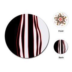 White, Red And Black Lines Playing Cards (round)  by Valentinaart