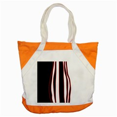 White, Red And Black Lines Accent Tote Bag by Valentinaart