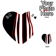 White, Red And Black Lines Playing Cards 54 (heart)  by Valentinaart