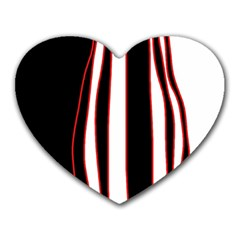 White, Red And Black Lines Heart Mousepads by Valentinaart