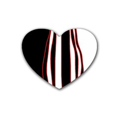 White, Red And Black Lines Rubber Coaster (heart)  by Valentinaart