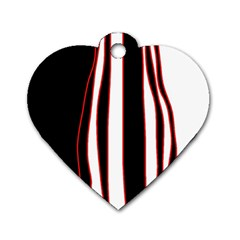 White, Red And Black Lines Dog Tag Heart (two Sides) by Valentinaart