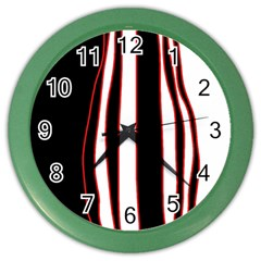 White, Red And Black Lines Color Wall Clocks by Valentinaart