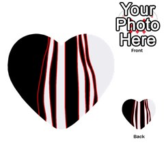 White, Red And Black Lines Multi Purpose Cards (heart)  by Valentinaart