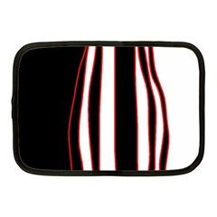 White, Red And Black Lines Netbook Case (medium)  by Valentinaart