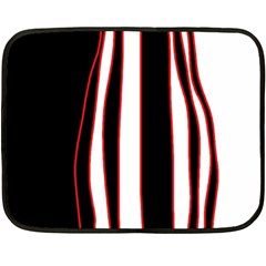 White, Red And Black Lines Fleece Blanket (mini) by Valentinaart