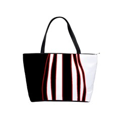 White, Red And Black Lines Shoulder Handbags by Valentinaart