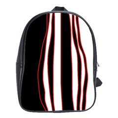 White, Red And Black Lines School Bags(large)  by Valentinaart
