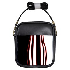 White, Red And Black Lines Girls Sling Bags by Valentinaart