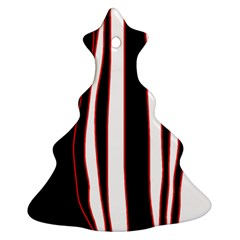 White, Red And Black Lines Christmas Tree Ornament (2 Sides) by Valentinaart