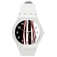 White, Red And Black Lines Round Plastic Sport Watch (m) by Valentinaart