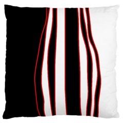 White, Red And Black Lines Large Cushion Case (two Sides) by Valentinaart