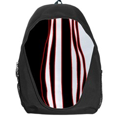 White, Red And Black Lines Backpack Bag by Valentinaart