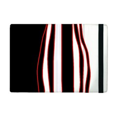 White, Red And Black Lines Apple Ipad Mini Flip Case by Valentinaart