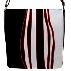 White, Red And Black Lines Flap Messenger Bag (s) by Valentinaart