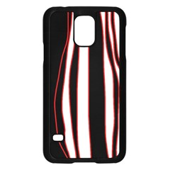 White, Red And Black Lines Samsung Galaxy S5 Case (black) by Valentinaart