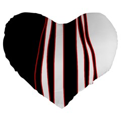 White, Red And Black Lines Large 19  Premium Flano Heart Shape Cushions by Valentinaart