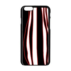 White, Red And Black Lines Apple Iphone 6/6s Black Enamel Case by Valentinaart