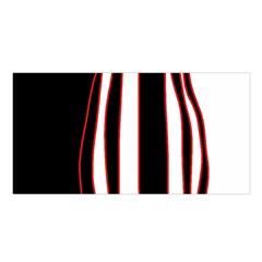 White, Red And Black Lines Satin Shawl