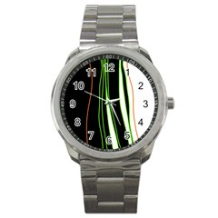 Colorful Lines Harmony Sport Metal Watch by Valentinaart