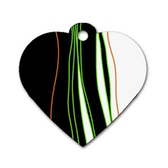 Colorful Lines Harmony Dog Tag Heart (one Side) by Valentinaart