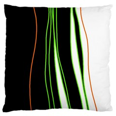 Colorful Lines Harmony Large Cushion Case (two Sides) by Valentinaart