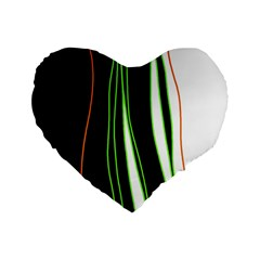Colorful Lines Harmony Standard 16  Premium Flano Heart Shape Cushions by Valentinaart