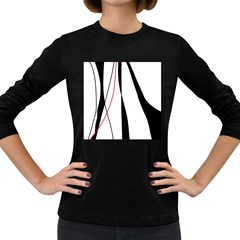 Red, White And Black Elegant Design Women s Long Sleeve Dark T Shirts by Valentinaart