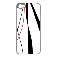 Red, White And Black Elegant Design Apple Iphone 5 Case (silver) by Valentinaart