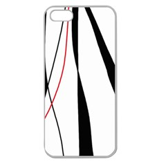 Red, White And Black Elegant Design Apple Seamless Iphone 5 Case (clear) by Valentinaart