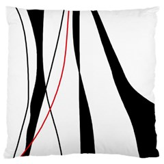 Red, White And Black Elegant Design Large Flano Cushion Case (two Sides)