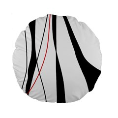 Red, White And Black Elegant Design Standard 15  Premium Flano Round Cushions by Valentinaart