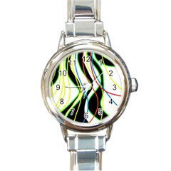 Colorful Lines   Abstract Art Round Italian Charm Watch by Valentinaart