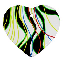Colorful Lines   Abstract Art Ornament (heart)