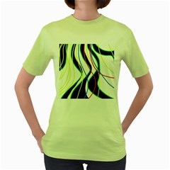Colorful Lines   Abstract Art Women s Green T Shirt by Valentinaart