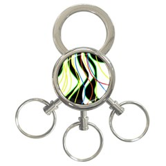 Colorful Lines   Abstract Art 3 Ring Key Chains by Valentinaart