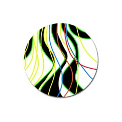 Colorful Lines   Abstract Art Magnet 3  (round) by Valentinaart