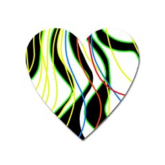 Colorful Lines   Abstract Art Heart Magnet by Valentinaart