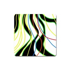 Colorful Lines   Abstract Art Square Magnet by Valentinaart