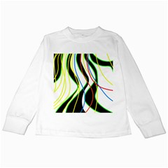 Colorful Lines - Abstract Art Kids Long Sleeve T-shirts by Valentinaart
