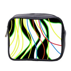 Colorful Lines   Abstract Art Mini Toiletries Bag 2 Side