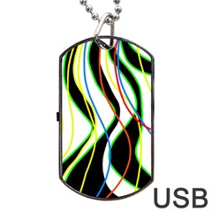 Colorful Lines   Abstract Art Dog Tag Usb Flash (one Side) by Valentinaart