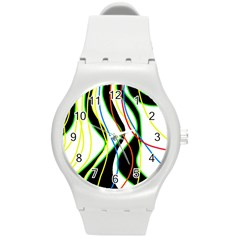Colorful Lines   Abstract Art Round Plastic Sport Watch (m) by Valentinaart