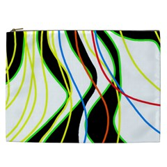 Colorful Lines   Abstract Art Cosmetic Bag (xxl)  by Valentinaart