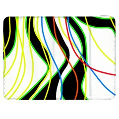 Colorful Lines   Abstract Art Samsung Galaxy Tab 7  P1000 Flip Case by Valentinaart