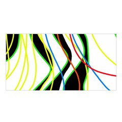 Colorful Lines   Abstract Art Satin Shawl