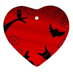 Halloween Landscape Heart Ornament (2 Sides) by Valentinaart